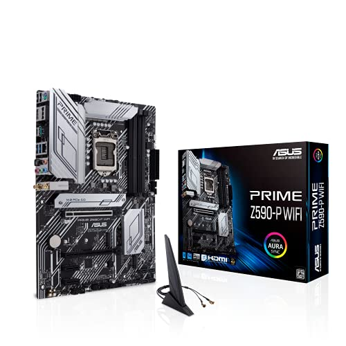 ASUS Placa base ATX Prime Z590-P WiFi LGA 1200 (Intel 11ª/10ª Gen) (PCIe 4.0, 10+1 Power Stages 3X M.2 WiFi 6, 2.5Gb LAN, panel frontal USB 3.2 Gen 2 USB Tipo-C, Thunderbolt 4 Soporte Aura Sync RGB)
