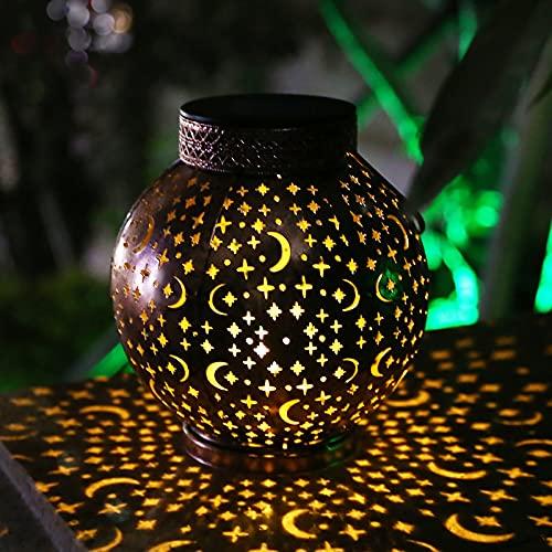 Solar Laterne für Außen, Hapurs Wasserdichte Solarlampen für Außen, Hängeleuchten Stern Mond aushöhlen Garten Dekorative Laterne für Terrasse Tisch Veranda Metall (Warmweiß)