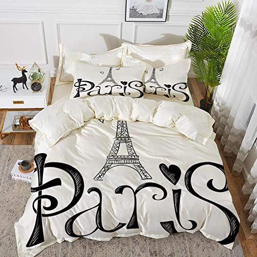 ropa de cama - Juego de funda nórdica, decoración de la ciudad de París, ilustración con torre Eiffel, decoración de silueta de formas de corazón de Francia, funda de edredón de microfibra hipoalergén