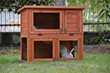 BUNNY BUSINESS 2-Tier Double Decker Rabbit/Guinea Pig Hutch with Sliding Tray (NATURAL)
