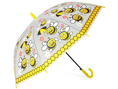 Alsino Regenschirm Kinder Biene Einhorn Sturmfest Kinderregenschirm Groß Tiermotiv Mädchen Jungen Bunt Stockschirm, Biene