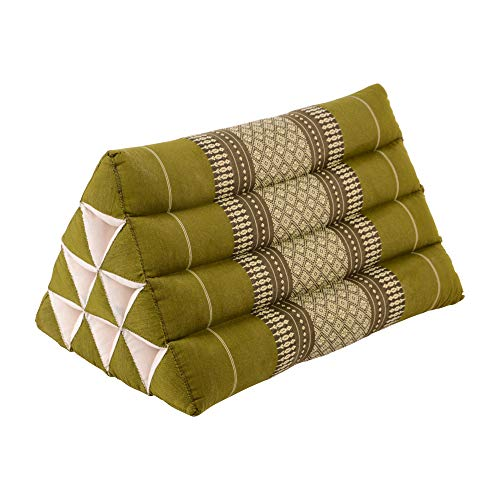 RM Design Thai Dreieckskissen aus Baumwolle mit Kapok Füllung, Outdoor Kissen Shark Beach 50x30x30 cm, Yogakissen in grün