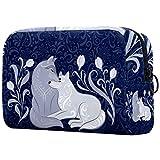 Bolsa de cosméticos para mujer, diseño floral de la familia de lobo con ilustración de arte folklórico, bolsas de maquillaje, accesorios organizador de regalos