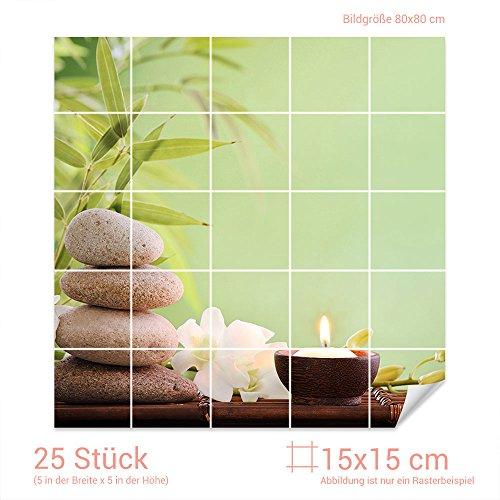 GRAZDesign Fliesenaufkleber Wellness - Set für Kacheln Bad-Fliesen mit Folie überkleben (Fliesenmaß 15x15cm (BxH) / Bild 80x80cm (BxH))