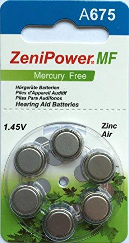 ZeniPower Mercury Free Hearing Aid Batteries Size 675 (60 Batteries)