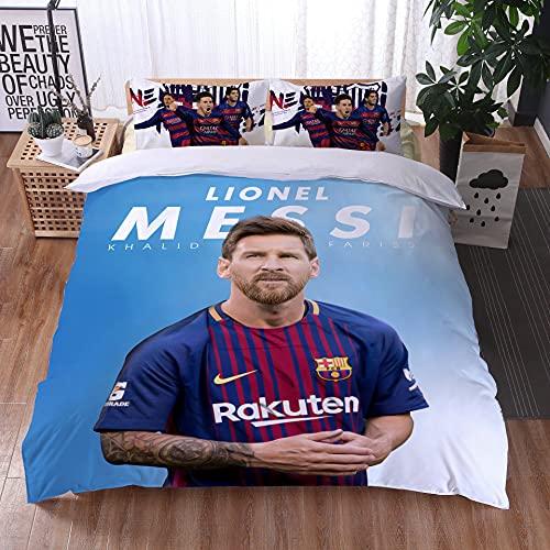 AINYD FC Barcelona Bettwäsche 135x200cm, Messi Bettbezuge, 3D HD-Druck Bettwäsche Set, 1 Bettbezug mit Reißverschluss + 1 Kissenbezug, Geeignet für Erwachsene & Kinder