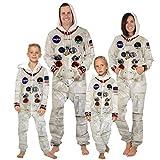 Mono de Moda Ropa de Astronauta de la NASA Niño Adulto Astronauta Estampado Onesies Disfraz de Cosplay Zip Sudadera con Capucha Mono Pijama, Niño L (145-150cm)