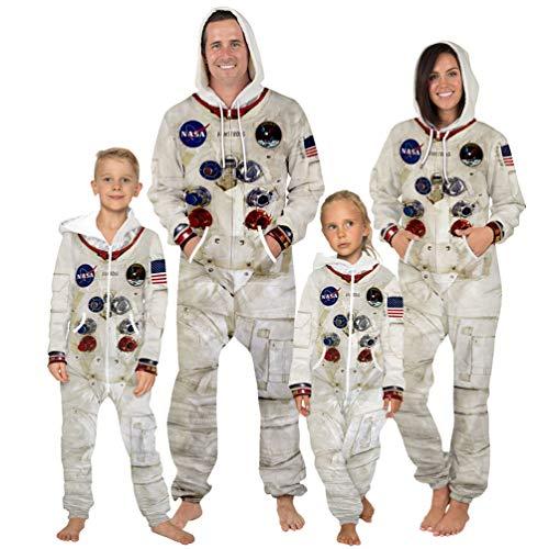 Mode Overall NASA Astronaut Kleidung Erwachsene Kind Astronaut Print Onesies Cosplay Kostüm Zip Hoodie Overall Pyjama, Kind S (125-130 cm)