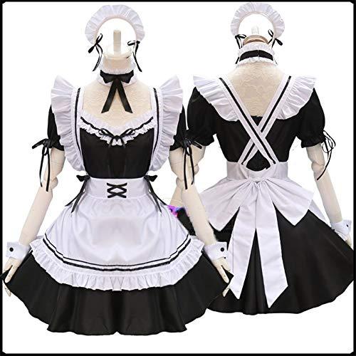 FMN-SEXY, Trajes de mucama Lindos Negros de Lolita Vestido de mucama francés Niñas Mujer Amine Disfraz de Cosplay Camarera Trajes de Fiesta de mucama (Color : Clothes Set, Size : One Size-Maid)