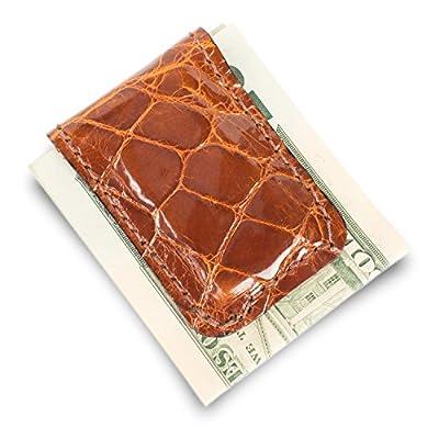 Genuine Florida Alligator Leather Money Clip (Cognac)