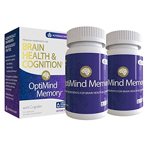OptiMind Memory + Brain Health Supplement   Boost Your Cognition   Cognizin   Bacosides   Phosphatidylserine   Vitamin D   Focus, Concentration, Memory   As Seen on Netflix   2 Bottle, 64 Count