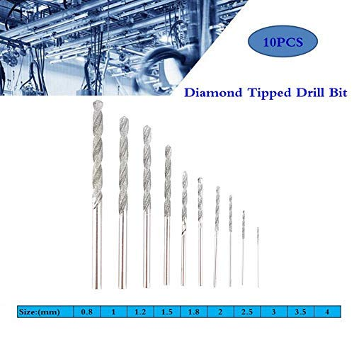 Acogedor 10pcs Diamond Tipped Drill Bit Set Twist Drill Bits for Glass Tile Stone 0.8mm / 1.0mm / 1.2mm / 1.5mm / 1.8mm / 2.0mm / 2.5mm / 3.0mm / 3.5mm / 4.0mm