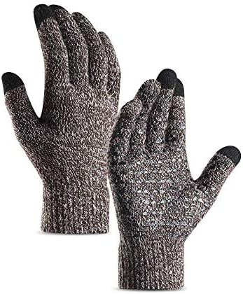 Lupovin-Keep Warm Pair Men Women Winter Touch Screen Warm Gloves Windproof Raincoat Drive Riding Thermal Full Finger Non-Slip (Color : Coffee White, Size : Men)