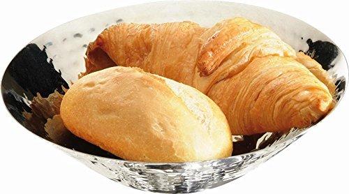 APS brood- en fruitschaal diameter 20 cm, H: 5,5 cm roestvrij staal, gepolijst hamerslag-look