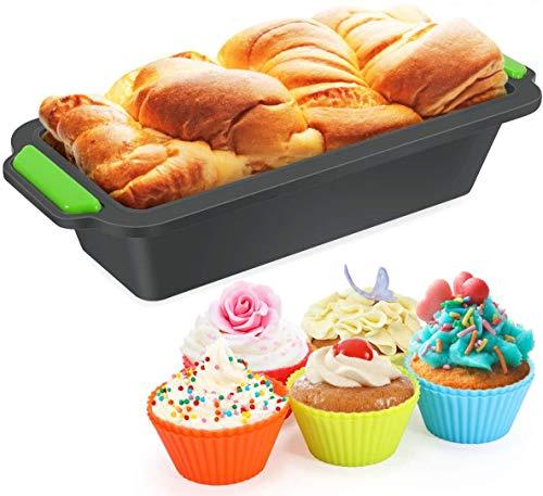 Nytlivet 11 in 1 Silikon Brotbackform Set, Kastenform Brotbackform Set, Kastenform Antihaftende Backform, und 10 Muffin Cupcake Förmchen, für Kuchen,Muffins,Toast und Brote (Schwarz Grün, 1)
