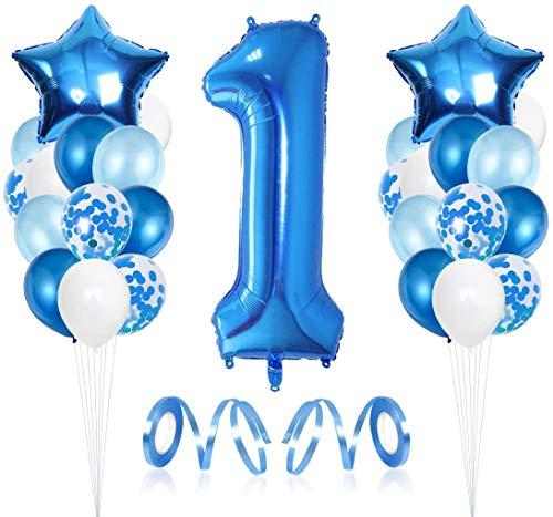 FANDE Decoración de cumpleaños para niños de 1 año,Foil Globo Número 1 Azul,Grande Globos para La Boda Aniversario,Globos de látex Blancos,Globo de Cumpleaños Fiesta Decoración.