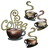 4 Pieces Metal Coffee Cup Wall Decor Coffee Bar Decor Coffee Decor Cafe Themed Wall Art Decoration Vintage Coffee Cup Wall Signs for kitchen decorations wall Coffee Shop Restaurant Lounge Decorations