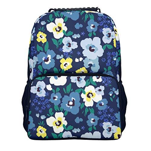 Blumen Rucksack - Künstlerische Blaue Blumen wasserdicht Mädchen Rucksack mit Papiertasche - Wasserfest Büchertasche für Girls Schule Campus/Reisen/Sport White OneSize
