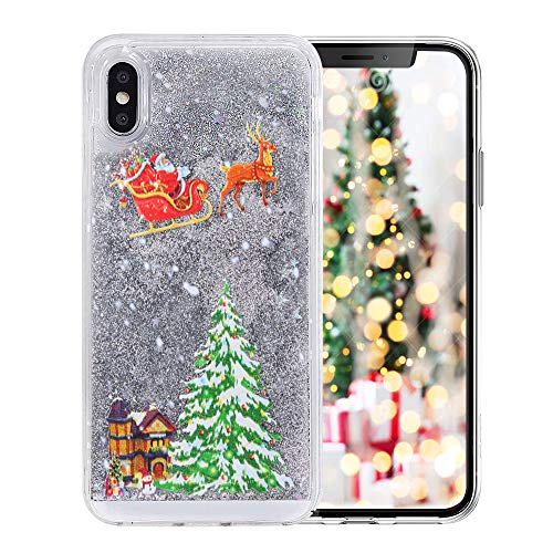 iPhone 6/6s Funny Case,Fusicase Style Christmas Tree Rudolph Pattern Flowing Liquid Floating Luxury Bling Glitter Sparkle Case Cover for iPhone 6/6s 4.7'