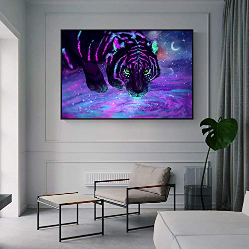 HUA JIE Cuadrogalaxy Stars Tigers Pinturas sobre Lienzo En La Pared Carteles E Impresiones Animales Cuadros De La Pared para La Sala Cuadros Decoración