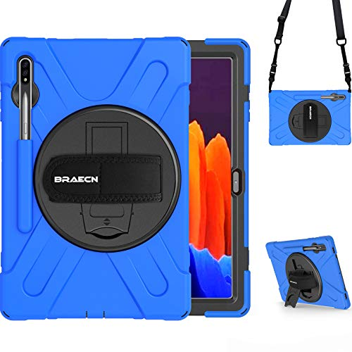BRAECN Samsung Galaxy Tab S7+ Case, Protective Heavy Duty Tablet Case with Adjustable Hand Strap, Built-in S Pen Holder, Shoulder Strap, Stand for Samsung Galaxy Tab S7 Plus 12.4 Inch 2020 Model-Blue