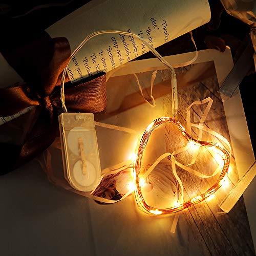 Kupferdraht 60er LED Lichterkette für innen- und außen, 6m Batteriebetriebene Stimmungslichter Warmweiß Kupfer Draht String Licht, Lampenkette für Haus Patio Garten Weihnachten Hochzeit Party
