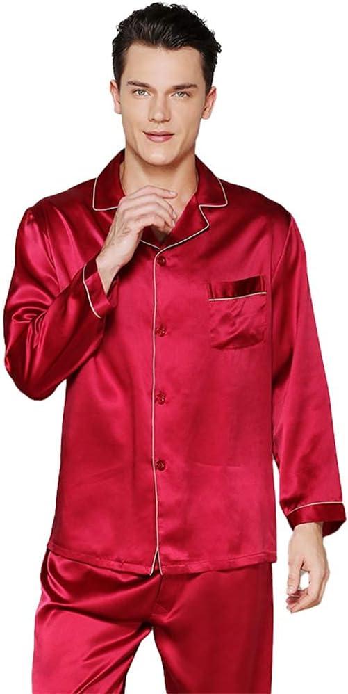 Mens Nightshirts Sleepwear 100% Silk Pyjamas for Men Set Men's Long Sleeve 19 Mumi Heavy Pajama Silkworm Spring and Autumn Homewear