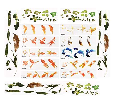Yalulu 30 Stücks 3D Simulation Rot Fisch Blätter Harz Dekorative Aufkleber Fit DIY Telefonkasten Formen Micro Landschaft Scrapbooking Aufkleber