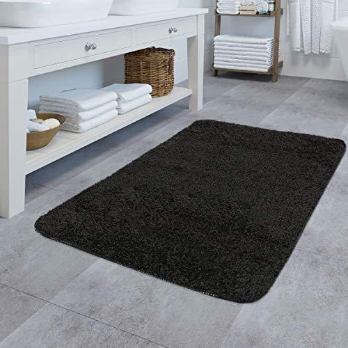 TT Home badmat in effen look hoogpolig badmat, antislip, verschillende kleuren en maten, kleur: zwart, maat: Ø 80 cm rond