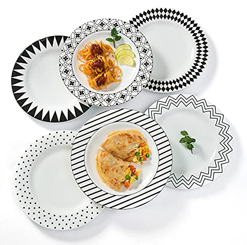AnBnCn 10 Inches Porcelain Dinner Plates, Large Serving Plate Set, 6-Different Motifs Assorted Patterns, Set of 6