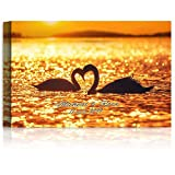 Silhouette of Swan Couple in love with Heart Personalized Canvas/Photo Paper Print and Framed Art Artwork with Couple's Names,Date or Message on, Unique Love Gift for Anniversary,Wedding