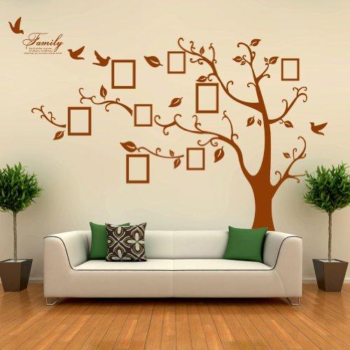 Kenmont Arte Adesivi da Parete PVC Enorme Cornici Memory Albero Vite Ramo Rimovibile Adesivo Sticker Murales, Marrone