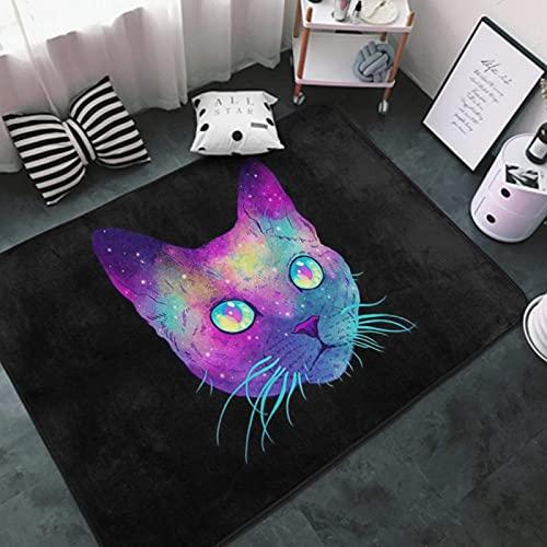 Area Rug Ultra Soft Multipurpose Floor Mat White-pueple Blue Galaxy Cool cat black3 Doormat for Indoor, Living Room, Bedroom, Outdoor Area Carpet 60'x39'