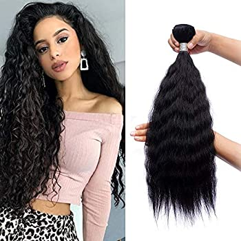 Synthetic Hair Kinky Straight 3 Bundles 16 18 20 INCH Color 1B Black  300Gm Same Texture With Human Hair Synthetic Hair Bundles Full Head Soft Hair Weft Sew in Hair Extensions for Women