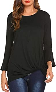 Womens Tops, Women's Round Collar Long Sleeve T-Shirt Casual Pure Colour Top Blouse