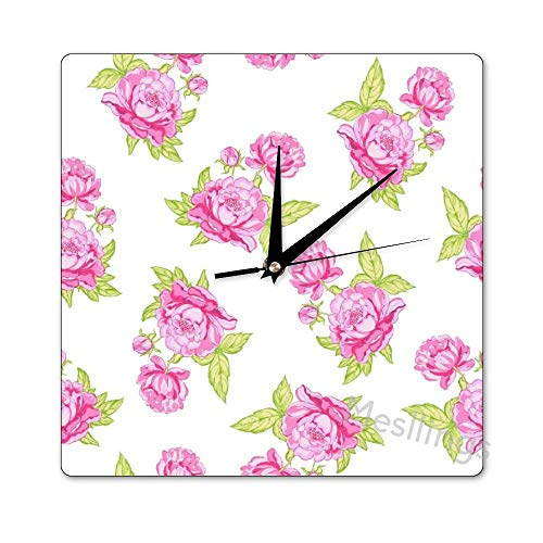 Mesllings Scale-Free Wall Clocks Fresh Spring Style Roses Pattern (3)