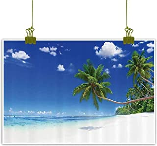 Art Print/Poster Oil Paintings Reproduction, Coastline Seascape Lagoon Palm Leaf and Clear Sky Clouds View Picture Art Home Wall Decorations - 23