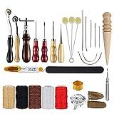 MOPOIN Juego de herramientas para cuero, 29 piezas, herramientas para trabajar el cuero, con punzón, aguja de cuero, dedal y otros accesorios para trabajos de cuero