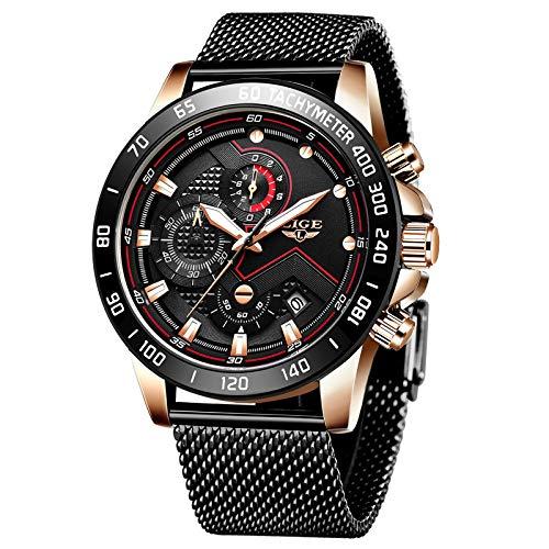 Relojes para Hombres,LIGE Acero Inoxidable Impermeable Reloj Analógico de Cuarzo Cronógrafo Banda de Malla Milanesa Esfera Negra Fecha Moda Casual Relojes de Pulsera