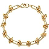 OSIANA Dainty Chunky Link Bracelet for Women 18K Gold Plated Simple Paperclip Chain Oval Rectangle Chain Classic Handmade Bracelets Tiny Cute Minimalist Personalized Jewelry for Her