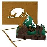 """3D Pop Up Karte Schweiz (Holz) - """"Schweizer Alpen – Matterhorn"""" - Grußkarte als Souvenir, Reisegutschein und Einladung zum Wandern, Klettern & Bergsteigen"""