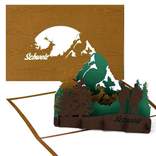 3D Pop Up Karte Schweiz (Holz) -...