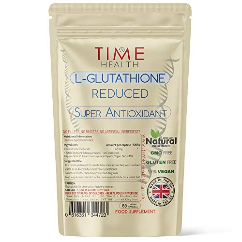 Glutathione Reduced - 425mg - UK Made - Zero Additives - Vegan - Pullulan (60 Capsule Pouch)