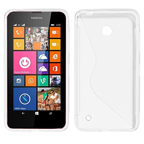 ebestStar - Cover Compatibile con Nokia Lumia 630 Custodia Protezione S-Line Design Silicone Gel TPU Morbida e Sottile, Trasparente [Apparecchio: 129.5 x 66.7 x 9.2mm, 4.5'']