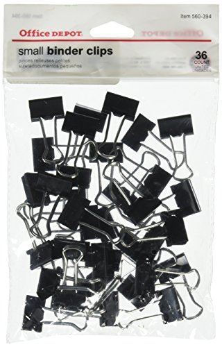 Office Depot Brand(R) Binder Clips, Small, 3/4in. Wide, 3/8in. Capacity, Black, Pack of 36, OD77832