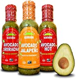 Kumana Avocado Hot Sauce, 3 Bottle Variety Pack. Keto & Paleo Friendly Hot Sauces made with Ripe Avocados and Chili Peppers. Gluten Free & Low Carb. (13 Oz. Squeeze Bottles Each)