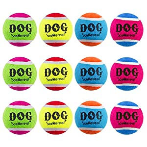 SCENEREAL Squeaky Tennis Balls for Dog 12 Packs – 2.5 Inches Tennis Ball Toys Non-Toxic Colorful High Bounce, Great Interactive Toys for Small Medium Large Dogs Training Playing