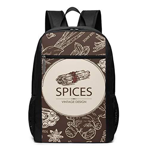 Schulrucksack Gewürz Ingwer Zimt Kreuzkümmel Samen, Schultaschen Teenager Rucksack Schultasche Schulrucksäcke Backpack für Damen Herren Junge Mädchen 15,6 Zoll Notebook