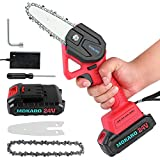 MOKARO Mini Chainsaw 4-Inch Cordless Power Chain Saws Kit,Upgraded 24V Rechargeable Battery Operated Electric Chainsaw,Portable One-Hand Operation Chainsaw for Tree Branch Trimming Wood Cutting