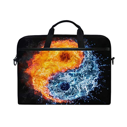 HaJie Laptop Bag Water Fire Yin Yang Computer Case 14-14.5 in Protective Bag Travel Briefcase with Shoulder Strap for Men Women Boy Girls